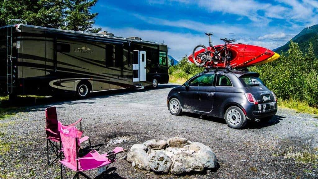Boondocking campsite near Portage Alaska