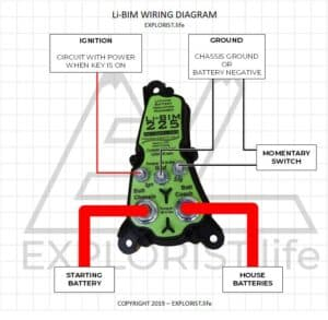 This image is a wiring diagram for the Li-BIM Lithium Battery Isolator