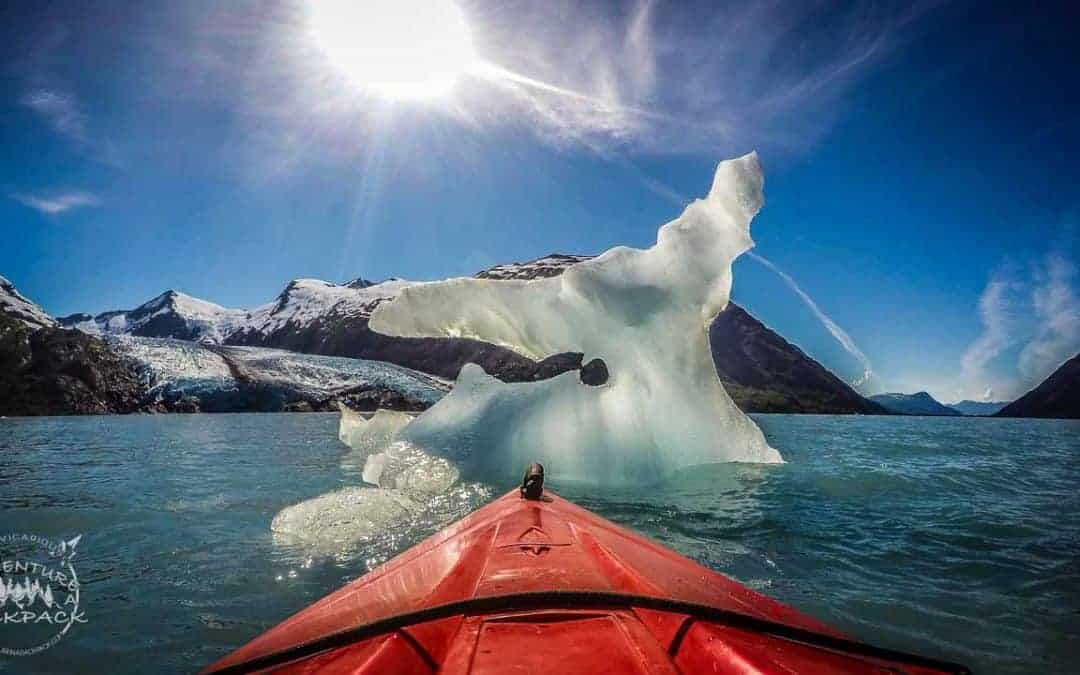 Kayaking in Portage Lake to Portage Glacier in Alaska