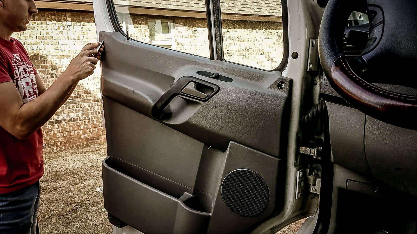 Removing door panel from Mercedes Sprinter Vanlife-2