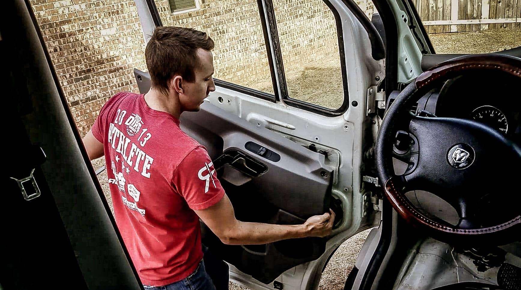 Removing door panel from Mercedes Sprinter Vanlife-5