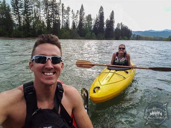 Kayaking near Glacier National Park